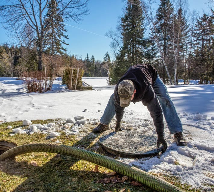 Opening a septic cover in winter