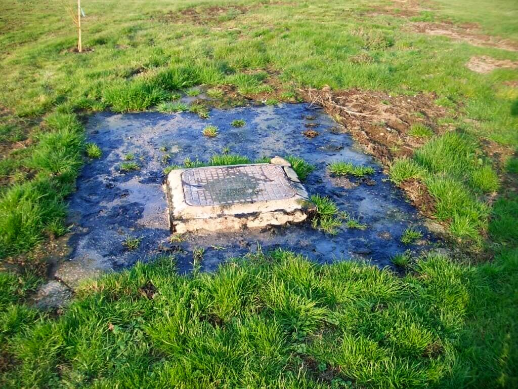 Flooded Septic Tank Lid after Hurricane